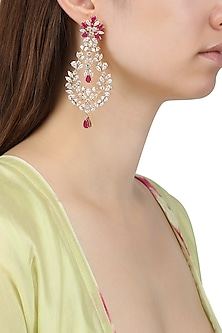 Gold Plated Droplet Shapped Earrings Set In Alloy Studded with American Diamonds by Auraa Trends
