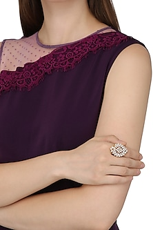 Gold Plated Ring In Alloy Studded with American Diamonds by Auraa Trends