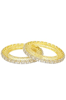 A Pair Of Gold Plated Round Bangle In Alloy Studded with Square and Round Shaped American Diamonds by Auraa Trends