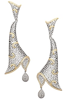 Rhodium Plated Oxidized American Diamond Abstract Earrings by Auraa Trends