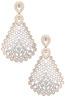 Rhodium Plated Oxidized American Diamond Earrings by Auraa Trends