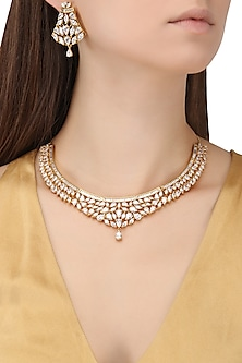 Rhodium Plated Oxidized American Diamond Necklace Set by Auraa Trends