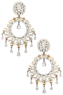 Rhodium Plated Oxidized American Diamond Chandbali Earrings by Auraa Trends