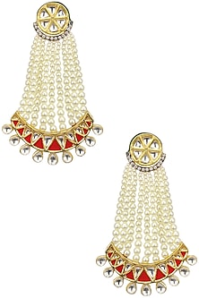 Kundan and Pearl Red Chaanbali by Auraa Trends