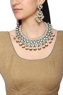 Gold Plated Multi Color Kundan Necklace Set