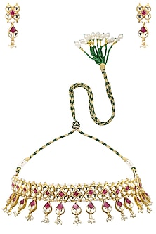 Gold Plated Red and White Beads Kundan Necklace Set by Auraa Trends