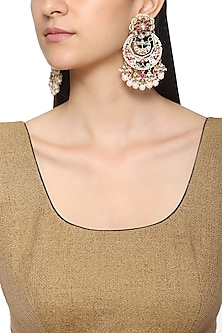 Gold Plated Multi Color Kundan Earrings