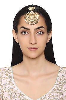 Gold Plated White Beads and Pearls Maangtika by Auraa Trends