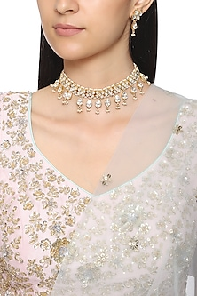 Gold Plated Semi-Precious Stones Kundan Necklace by Auraa Trends