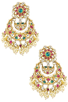 Gold Plated Multi Color Semi-Precious Stones Floral Earrings by Auraa Trends