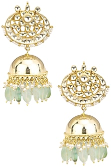 Gold Finish White Kundan Jhumki Earrings by Auraa Trends