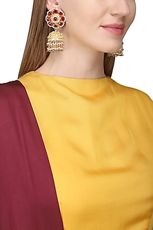 Gold Finish White and Red Kundan Jhumki Earrings by Auraa Trends