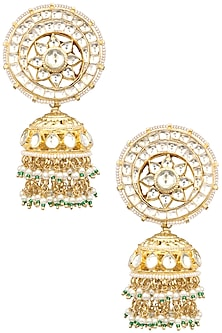Gold Finish White Kundan and Pearls Jhumki Earrings by Auraa Trends