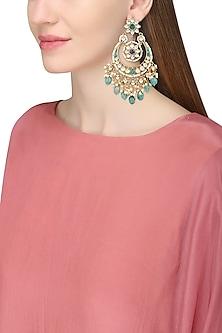 Gold Finish White and Blue Kundan Chandbali Earrings