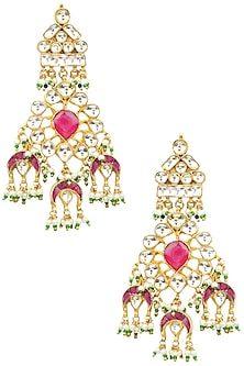 Gold Finish White and Red Kundan Long Dangler Earrings by Auraa Trends