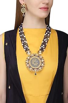 Gold Finish Kundan and Meenakari Pendant Necklace Set