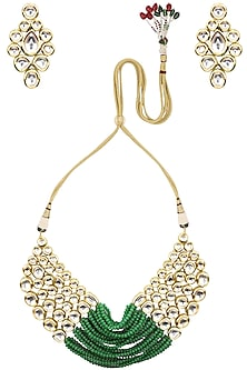 Gold Finish Kundan and Green Beads Necklace Set by Auraa Trends