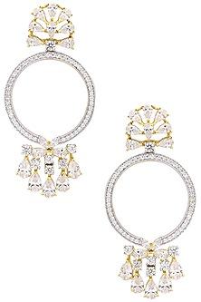 Silver Finish Diamond Dangler Earrings by Auraa Trends
