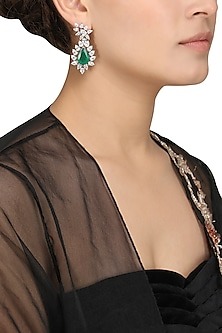 Silver Finish Green Semi Precious Stone Embellished Earrings