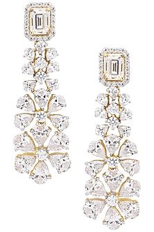 Silver Finish Cubic Zirconia Embellished Dangler Earrings by Auraa Trends