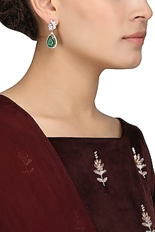 Silver Finish Green Stone Embellished Earrings by Auraa Trends