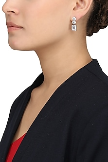 Silver Finish Zirconia Embellished Earrings by Auraa Trends
