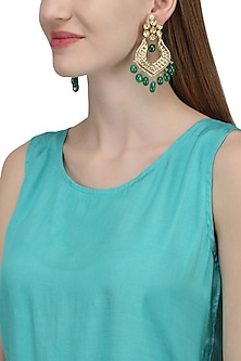 Gold Plated Green Kundan Chandbali Earrings by Auraa Trends