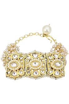 Gold Plated Kundan and Pearl Bracelet by Auraa Trends