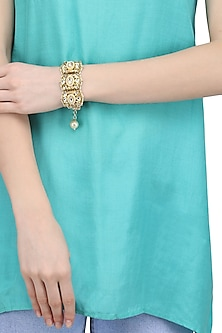 Gold Plated Kundan and Pearl Bracelet