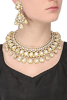 Gold finish big kundan stone teardrop motifs necklace