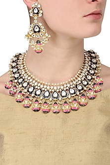 Gold finish kundan stone blue and pink enamel one String Necklace set
