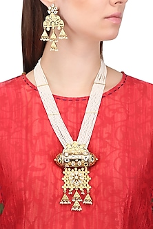 Gold Plated Kundan and Textured Jhumki Drops Necklace Set