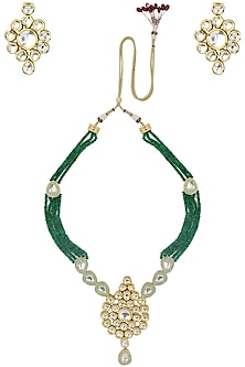 Gold Finish Kundan and Green Semi Precious Stone Necklace Set by Auraa Trends