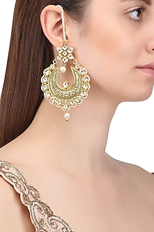 Gold Finish Textured Crescent Shaped Earrings
