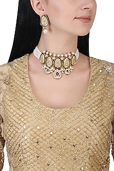 Gold plated kundan, red stones and pearls choker necklace set
