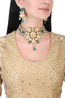 Gold plated kundan and green beads necklace set
