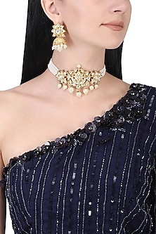 Gold plated kundan and white pearl choker necklace set