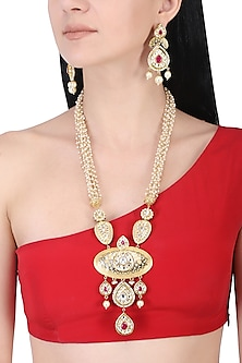Gold plated kundan and red stone long necklace set