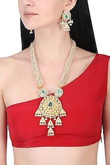 Gold plated kundan and green stone long necklace set
