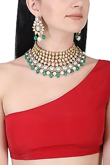 Gold plated kundan and white and green beads necklace set