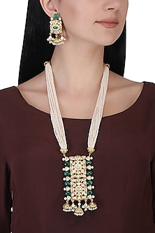 Gold plated kundan, green beads and pearl long necklace set