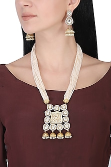 Gold plated white kundan and pearls long necklace set