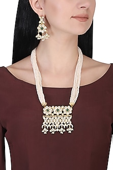 Gold plated kundan, green beads and pearl long floral necklace set