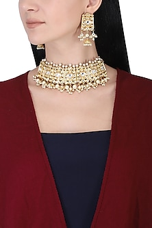 Gold plated kundan and pearl beads choker necklace set