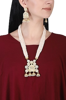 Gold plated kundan and pearl bead long necklace set