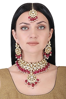 Gold plated kundan and red beads necklace set