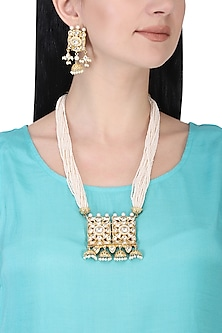 Gold plated kundan and pearl long necklace set