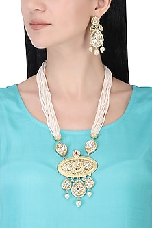 Gold plated white kundan and pearl drop long necklace set
