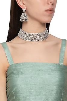 Gold plated diamond choker necklace set