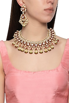 Gold plated kundan and red meena necklace set